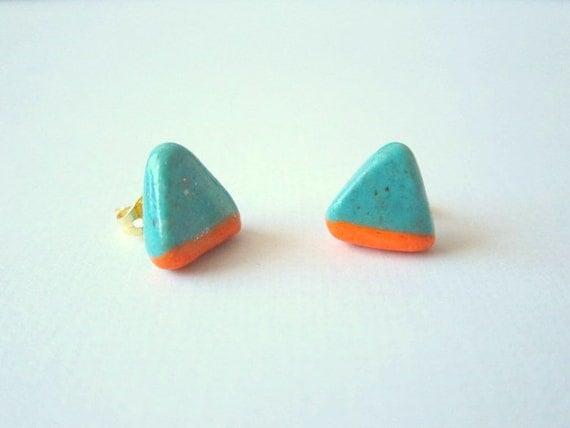 Handmade NEON ORANGE Turquoise Triangle Stud Earrings