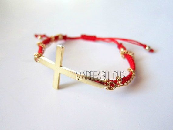 Sideways Cross Bracelet//CHAIN WRAPPED//Choose your Color