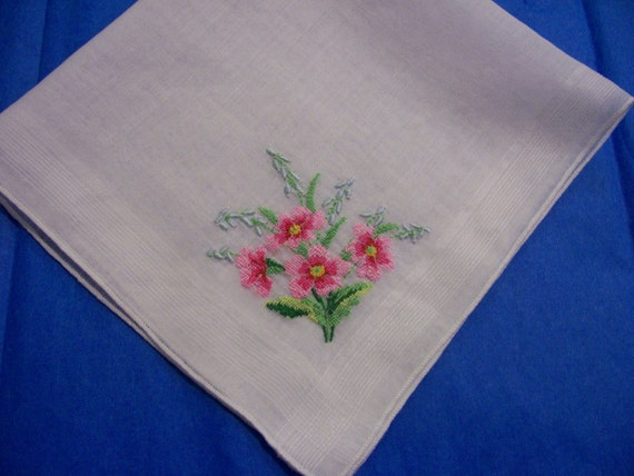 Vintage Pink and Blue Spring Flowers on Hanky