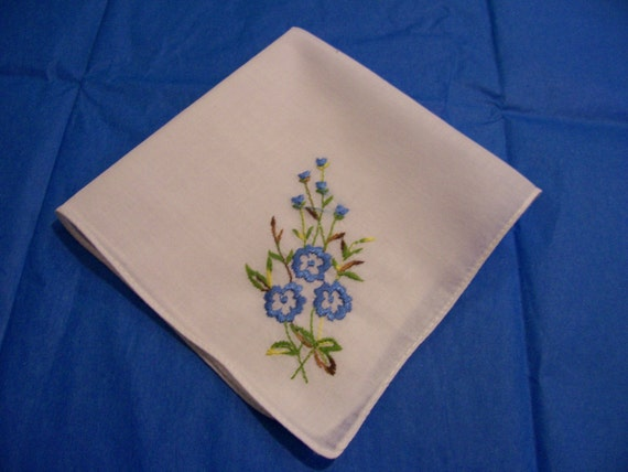 Vintage Hanky with Blue Flowers