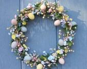 Spring Flowers Easter Egg Wreath by Silk N Lights