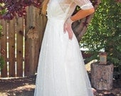 1930s Vintage/Antique Beautiful Soft White Sheer lightly flocked Wedding Gown/Dress