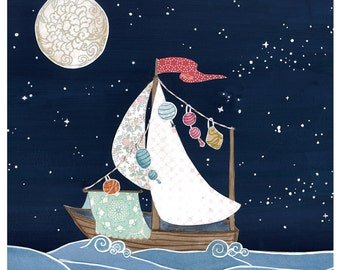 Boat Ship Sail Night Sky Stars Moon Cut Paper Dream - Print of Original Painting Collage by Paper Taxi