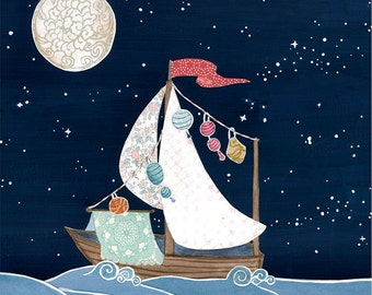 Boat Ship Sail Night Sky Stars Moon Cut Paper Dream - Large Print of Original Painting Collage by Paper Taxi