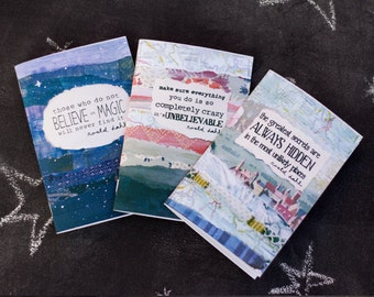 Mini Notebooks Set of 3 Roald Dahl quotes Jotter