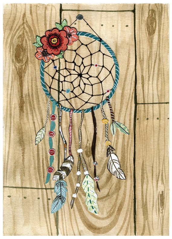 Illustrated Dreamcatcher Dream Catcher Feathers woodgrain - Print of Original Painting Collage - by Paper Taxi
