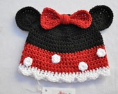 Black, Red and White Minnie Mouse Inspired Beanie- Size 18-2T