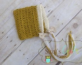 Newborn Crochet  Mustard Yellow Pixie Beanie with tassels- 0-3 months Ready to Ship
