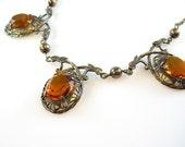 Art Deco Style Filigree Topaz Glass Gold filled Vintage Necklace Burnt Orange Czech Glass