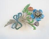 RESERVED FOR S // Vintage Sterling Marcasite Enamel Flower Pin Brooch Bouquet Guilloché Rose