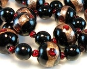 Vintage Venetian Necklace Murano Glass Aventurine Black Ruby Red Gold Lampwork Jewelry