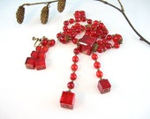 Art Deco Vintage Red Sautoir Necklace Set Earrings Cube Beads Czech Style 1930s