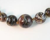 Antique Victorian Necklace Slag Glass Bead Brown Malachite Caramel Swirls c 1900