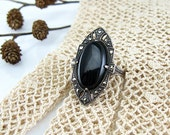 Art Deco Ring Sterling Black Onyx Marcasites 1920s Jewelry Size 8 1/2