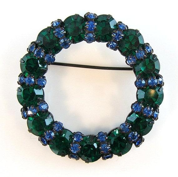 Vintage Warner Rhinestone Brooch Emerald Green Montana Blue Japanned Setting 1960s Jewelry