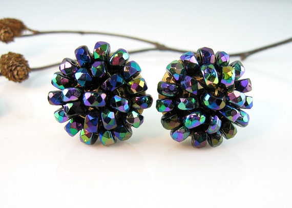 Vintage Carnival Glass  Earrings Peacock Colors Cluster Clips Signed VOGUE 1960s Jewelry