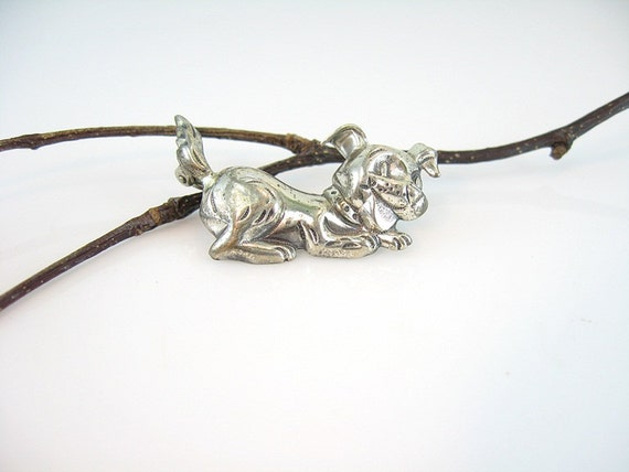 Vintage Dog Pin Sterling Silver Figural Playful Puppy Mutt Detailed Beau Sterling 1960s Jewelry