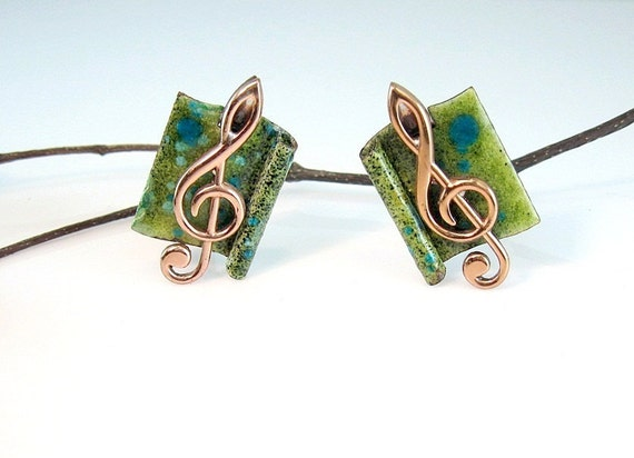 Vintage Matisse Renoir Copper Enamel Earrings Music G Clef Mid Century Modern 1950s Jewelry