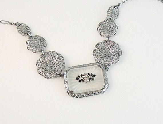 Vintage Art Deco Camphor Glass Necklace Enamel Rhodium Filigree Paste Stone 1930s Jewelry