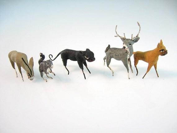 Miniature Animals Handmade Hand Painted Mini Zoo Vintage Figurals Set 5 Dioramas Doll House