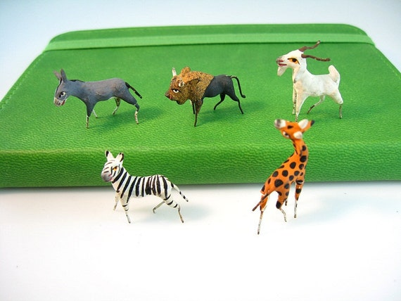 Miniature Animals Handmade Hand Painted Mini Zoo Vintage Figurals Set 5 Altered Art Doll House