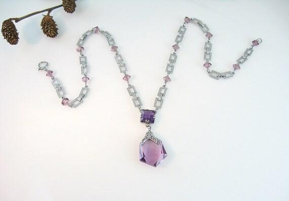 Art Deco Necklace Amethyst  Glass Rhodium Filigree Textured Links w/ Beads Vintage 1930s Jewelry