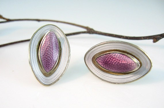 Sterling Enamel Norway Vintage Earrings Aksel Holmsen Lavender Guilloché Modernist 1960s Jewelry
