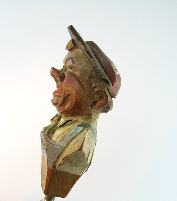 Anri Vintage Corkscrew Carved Wood Man Hat Collar Tie Overalls or Apron Painted Italy Barware