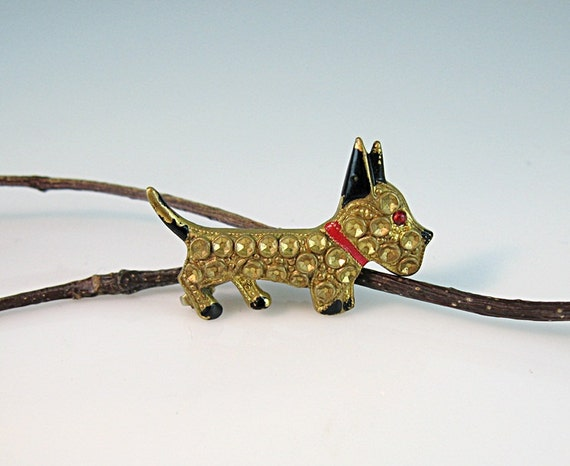 Tiny Scotty Dog Pin Gold Tone Red & Black Enamel Accents Cabochon Eye Vintage Scottie Jewelry