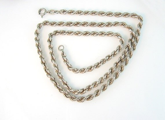Vintage Sterling Silver Rope Chain Necklace 20 inches