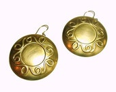 Large Disc Scroll Earrings