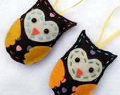 Felt Owl Ornaments Yellow Felt Owl Ornaments