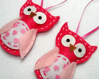 Felt Owl Ornaments Pink Valentine's Day Felt Owl Ornaments