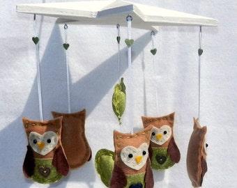 Baby Crib Mobile - Owl Heart Star Mobile Felt Mobile