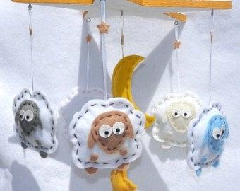Baby Crib Mobile - Sheep Star Moon Star Felt Mobile