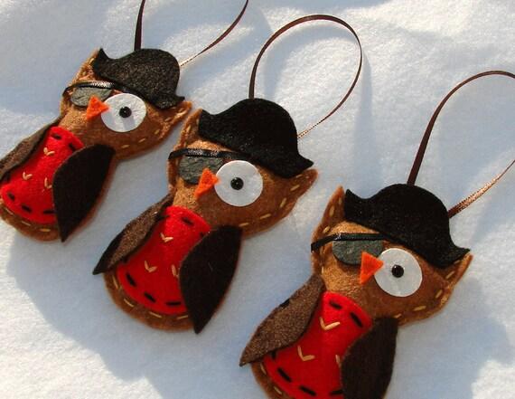 Felt Owl Ornaments - Set of 3 Adorable Pirate Felt Owl Ornaments - RESERVED FOR ala747