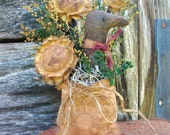 Primitive Sunflower and Crow with Seed Bag - Primitive Country Decor