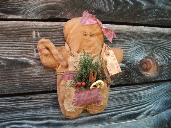 Primitive Grungy Gingerbread Girl Christmas Decoration - Wall Hanging or Shelf Tuck - For Your Hutch, Mantel or Cupboard