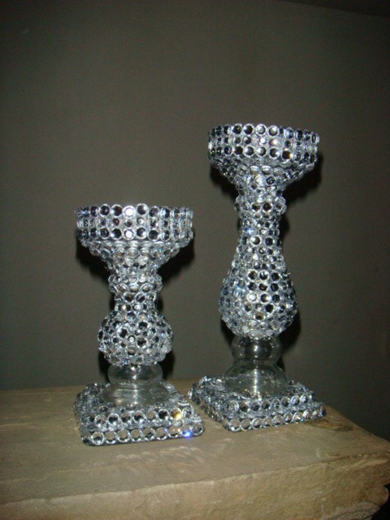 Set of 2 Bedazzled Candle Sticks