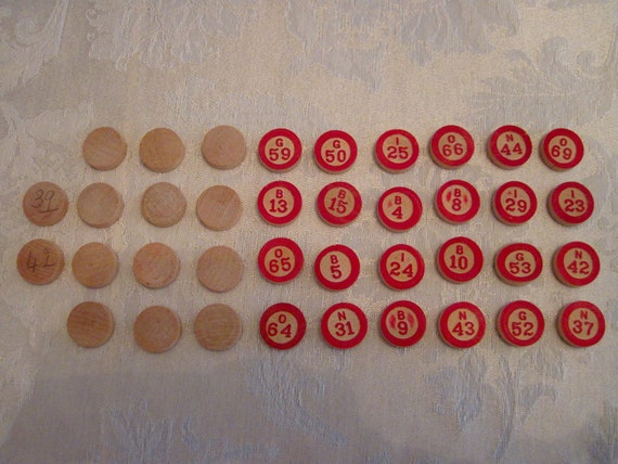 Vintage Wooden Bingo Markers - Lot of 38