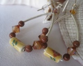 Goldstone, topas, ceramic flower bead earrings