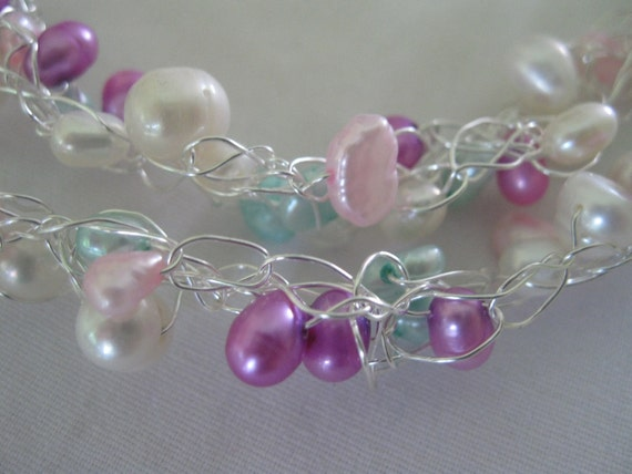 Pastel color wire crochet necklace, fresh water pearls