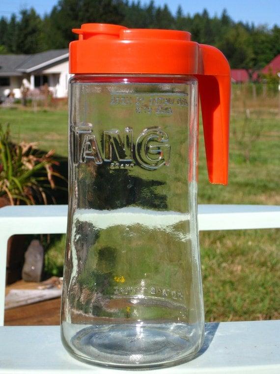 Anchor Hocking Tang Orange Drink Pitcher Carafe Jar