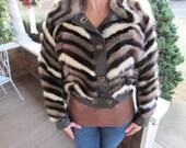Vintage Tri Colored Mink 60's Mod Short Coat for Wendy