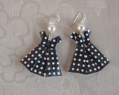 Black Polka Dot Origami Dress Earrings