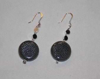 Gray Cheetah and Silver Bead Earrings