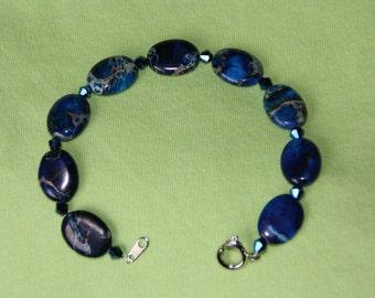 Blue Marbled Bracelet