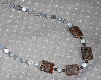 Blue & Gray Tiger Striped Beaded Necklace