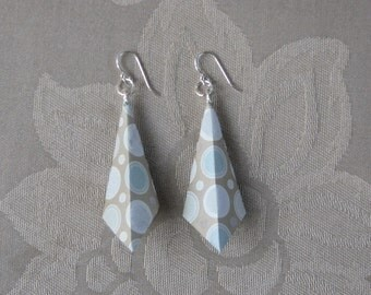 Taupe Polka Dot Origami Earrings