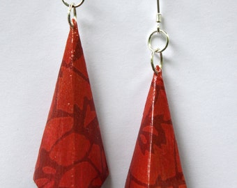 Hand Folded Red Patterned Origami Drop Earrings